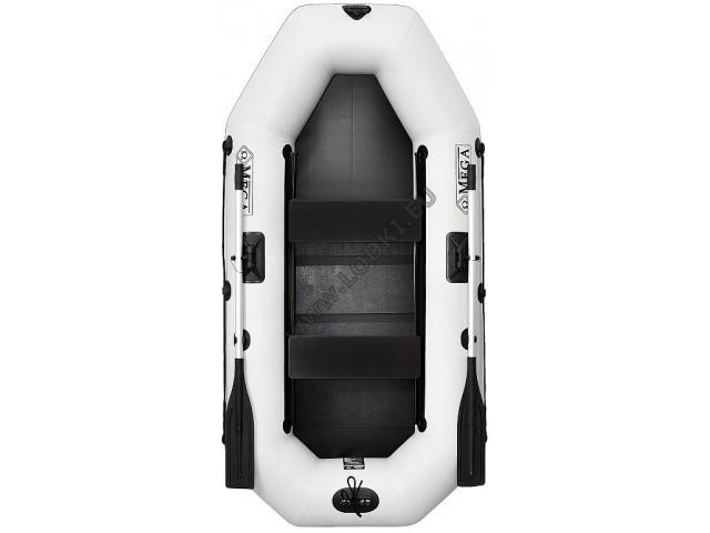 OMEGA - Надуваема ДВУМЕСТНА гребна рибарска лодка с оребрено дъно 250 LSPT PS Active Plus с размери 249x125cm, Товароносимост: 220 кг, Цвят: светло сив
