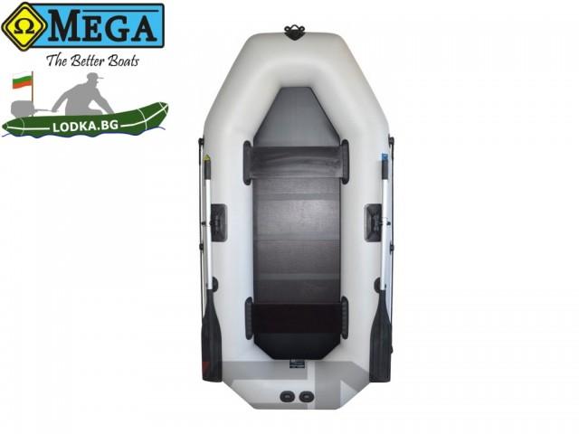 OMEGA - Надуваема ДВУМЕСТНА гребна рибарска лодка с оребрено дъно 250 LST Active с размери 249x125cm, Товароносимост: 220 кг, Цвят: светло сив