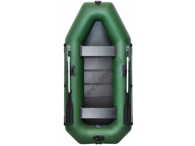 OMEGA - Надуваема ДВУМЕСТНА гребна рибарска лодка с оребрено дъно 260 LSPT с размери 260x130cm, Товароносимост: 230 кг, Цвят: светло зелен, стандартен