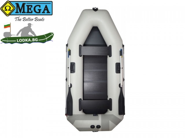 OMEGA - Надуваема ДВУМЕСТНА гребна рибарска лодка с оребрено дъно 260 LST Active с размери 260x130cm, Товароносимост: 230 кг, Цвят: светло сив