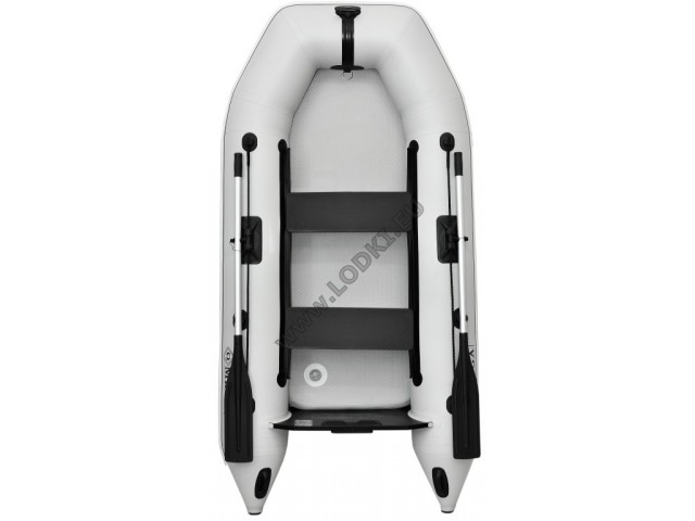 OMEGA - Надуваема ДВУМЕСТНА моторна рибарска лодка с надуваемо твърдо дъно 260 M Standard Air Deck с размери 260x130cm, Товароносимост: 230 кг, Цвят: светло сив