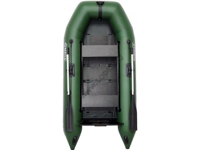 OMEGA - Надуваема ДВУМЕСТНА моторна рибарска лодка с оребрено дъно 260 M Standard Edition  с размери 260x130cm, Товароносимост: 230 кг, Цвят: светло зелен, стандартен