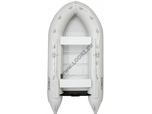 OMEGA - Надуваема ДВУМЕСТНА моторна рибарска лодка с оребрено дъно 260 MV-GA Premium Edition с размери 260x135cm, Товароносимост: 270 кг, Цвят: светло сив, сиви аксесоари