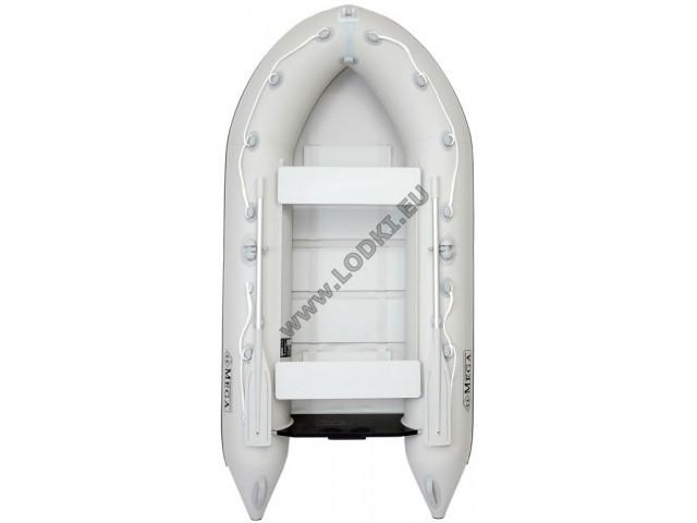 OMEGA - Надуваема ДВУМЕСТНА моторна рибарска лодка с оребрено дъно 270 MV-GA Premium Edition с размери 270x135cm, Товароносимост: 270 кг, Цвят: светло сив, сиви аксесоари
