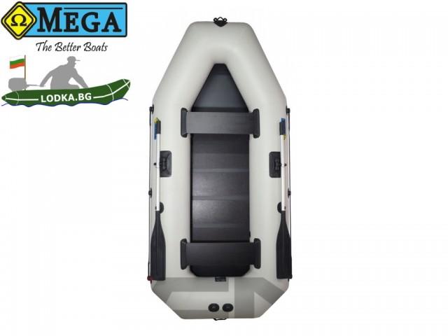 OMEGA - Надуваема ДВУМЕСТНА гребна рибарска лодка с оребрено дъно 280 LSPT Active Plus с размери 280x130cm, Товароносимост: 300 кг, Цвят: светло сив