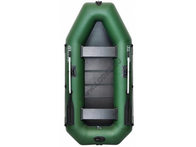 OMEGA - Надуваема ДВУМЕСТНА гребна рибарска лодка с оребрено дъно 280 LSPT Active Plus с размери 280x130cm, Товароносимост: 300 кг, Цвят: светло зелен, стандартен