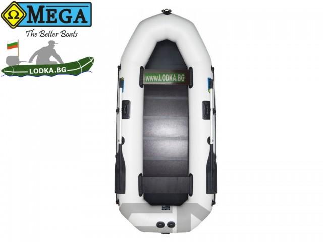 OMEGA - Надуваема ДВУМЕСТНА гребна рибарска лодка с оребрено дъно 290 LST Pro с размери 290x120cm, Товароносимост: 300 кг, Цвят: светло сив