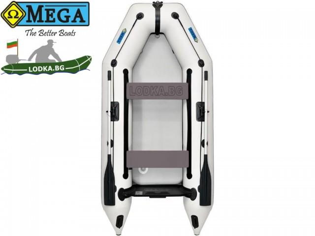 OMEGA - Надуваема ДВУМЕСТНА моторна рибарска лодка с НАДУВАЕМО цяло дъно 290 M Deluxe RT PT Air Deck с размери 290x135cm, Товароносимост: 300 кг, Цвят: светло сив