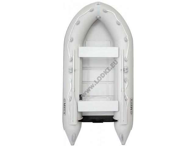 OMEGA - Надуваема ДВУМЕСТНА моторна рибарска лодка с оребрено дъно 290 MV-BA Premium Edition с размери 290x135cm, Товароносимост: 300 кг, Цвят: светло сив, черни аксесоари