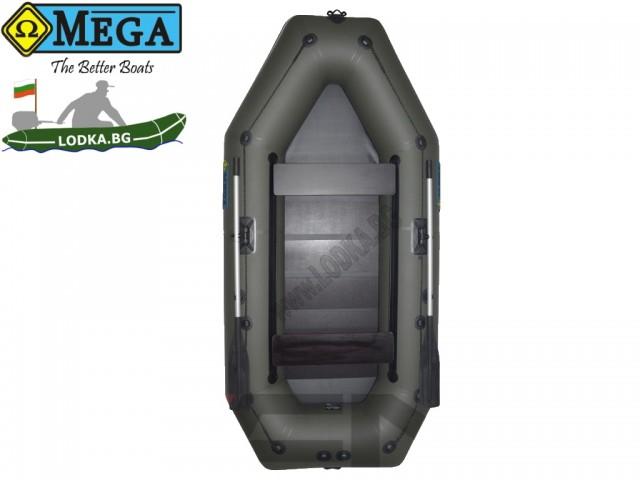 OMEGA - Надуваема ТРИМЕСТНА гребна рибарска лодка с оребрено дъно300 LSPT PS Active Plus с размери 300x150cm, Товароносимост: 400 кг, Цвят: тъмно зелен, хаки