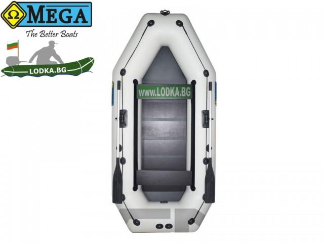 OMEGA - Надуваема ТРИМЕСТНА гребна рибарска лодка с оребрено дъно 300 LSPT PS Active Plus с размери 300x150cm, Товароносимост: 400 кг, Цвят: светло сив