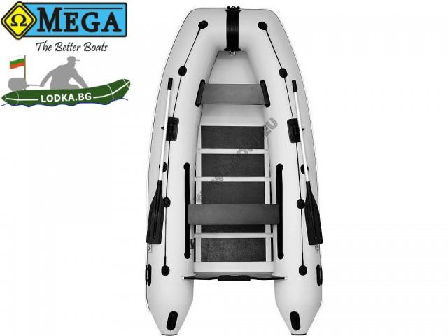 OMEGA - Надуваема ТРИМЕСТНА моторна рибарска лодка с оребрено дъно и U-образна форма 310 MU Standard Edition с размери 310x160cm, Товароносимост: 430 кг, Цвят: светло сив