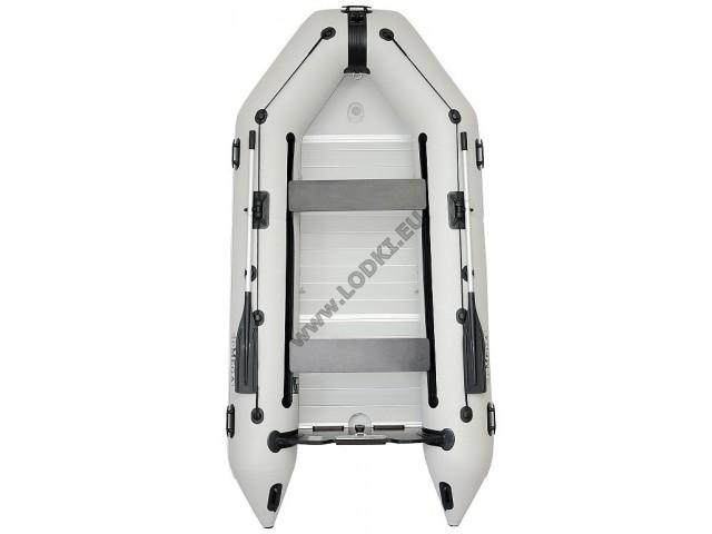 OMEGA - Надуваема ТРИМЕСТНА моторна рибарска лодка с твърдо АЛУМИНИЕВО дъно и надуваем кил 330 K (ALF) с размери 330x160cm, Товароносимост: 500 кг, Цвят: светло сив
