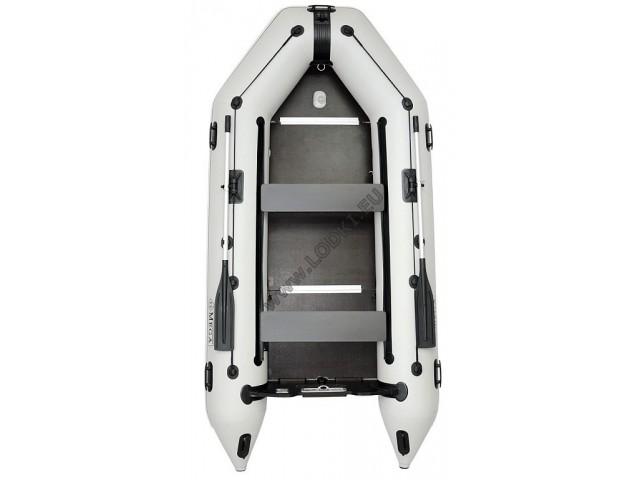 OMEGA - Надуваема ТРИМЕСТНА моторна рибарска лодка с твърдо дъно и надуваем кил 330 K Comfortline PFA RT PT с размери 330x160cm, Товароносимост: 500 кг, Цвят: светло сив