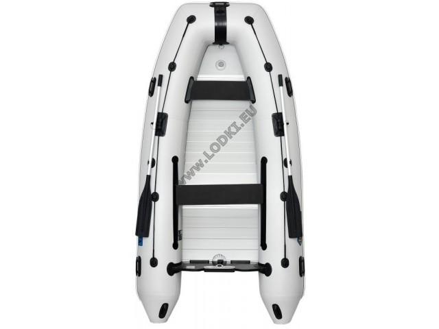 OMEGA - Надуваема ЧЕТИРИМЕСТНА моторна рибарска лодка с твърдо Алуминиево дъно и надуваем кил 330 KU Evolution ALF RT PT с размери 330x160cm, Товароносимост: 500 кг, Цвят: светло сив