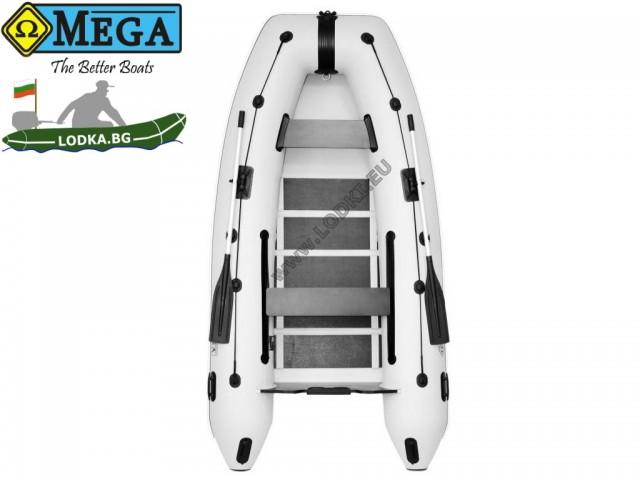 OMEGA - Надуваема ЧЕТИРИМЕСТНА моторна рибарска лодка с оребрено дъно и U-образна форма на носа, 330 MU Standard Edition с размери 330x160cm, Товароносимост: 500 кг, Цвят: светло сив