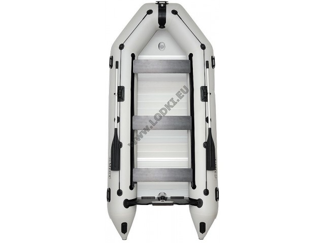 OMEGA - Надуваема ТРИМЕСТНА моторна рибарска лодка с твърдо АЛУМИНИЕВО дъно и надуваем кил 360 K (ALF) с размери 360x160cm, Товароносимост: 600 кг, Цвят: светло сив