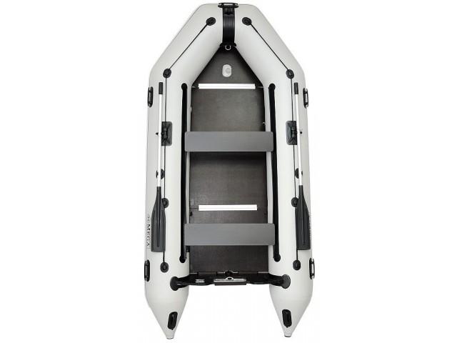 OMEGA - Надуваема ТРИМЕСТНА моторна рибарска лодка с твърдо дъно и надуваем кил 360 K Comfortline PFA RT PT с размери 360x160cm, Товароносимост: 600 кг, Цвят: светло сив