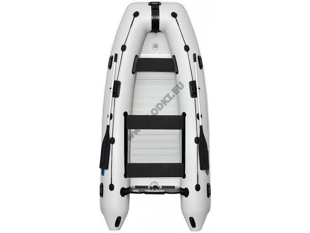 OMEGA - Надуваема ЧЕТИРИМЕСТНА моторна рибарска лодка с алуминиево дъно и надуваем кил 340 KU Evolution ALF RT PT с размери 340x170cm, Товароносимост: 550 кг, Цвят: светло сив