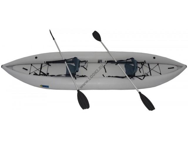 OMEGA - Надуваем ДВУМЕСТЕН каяк K-450 Standard Air Deck с размери 450x100cm, Товароносимост: 250 кг, Цвят: светло сив
