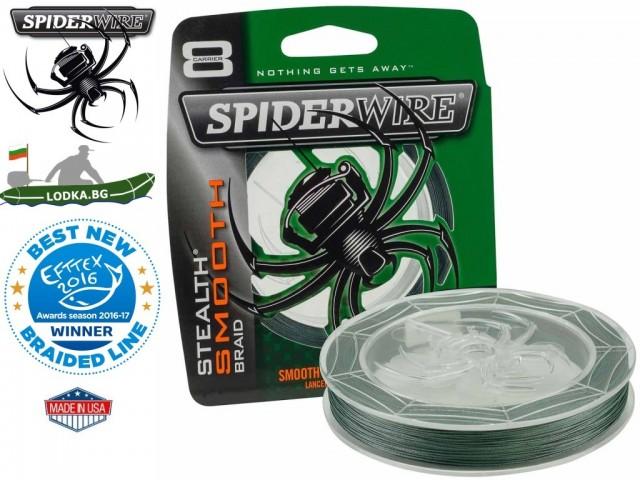"SPIDERWIRE - Плетено 8 нишково влакно ""Stealth Smooth 8"", Дължина: 150 m, Дебелина: 0.10 mm, Цвят: Зелен"